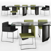 Minotti Wedge Dining table and Flynt stool