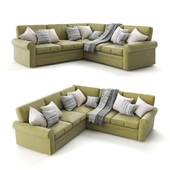 "Corner sofa ""Auguste Corner"" velor green, from the factory ""Century Furniture""."