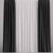 Black curtains with tulle.