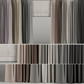 A set of curtains in different colors with a roman curtain.