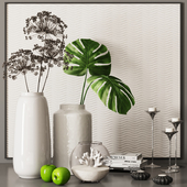 decorative set with palm leaves, coral and dry plants 06