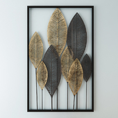 Black and Gold Metal Feather Wall Art 53x84
