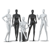 A collection of five faceless female mannequins 29