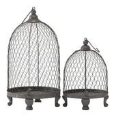 2 Piece Bird Cage Metal Lantern Set