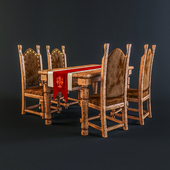 Dining table and chairs in medieval knightly style