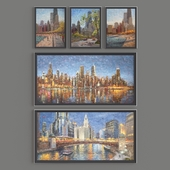 paintings by artist EJ Paprocki. CHICAGO CITYSCAPES series (21 picture)