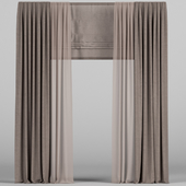 Curtains with tulle and roman blinds.