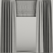 Gray curtains with roman blinds.