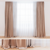 Curtains beige with tulle | Modern curtains
