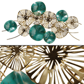 Wall Decor Flowers Golden-turquoise