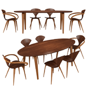 Norman cherner pretzel dining table and chairs