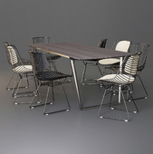 MDF Italia: Dining Set (Table Axy Comfort & Chair Flow Filo)