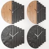 PRAF-XV geometric wall clocks-WOOD+BLACK
