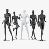 A collection of five faceless female mannequins 34