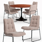 Naomi Savile Gray Tufted Dining Chair