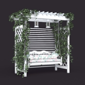 Садовые качели в стиле прованс, белые