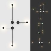 Настенные светильники Vibia Pin (4 цвета, 4 варианта размещения).