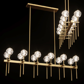 Restoration Hardware BOULE DE CRISTAL GRAND DOUBLE LINEAR CHANDELIER Brass