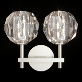 Restoration Hardware BOULE DE CRISTAL DOUBLE SCONCE Nickel
