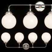 Restoration Hardware BISTRO GLOBE MILK GLASS BATH SCONCE 4-LIGHT Nickel and Black