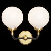 Restoration Hardware BISTRO GLOBE MILK GLASS DOUBLE SCONCE Brass and Black