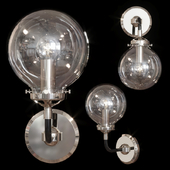 Restoration Hardware BISTRO GLOBE CLEAR GLASS SINGLE SCONCE Nickel and Black