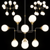 Restoration Hardware BISTRO GLOBE MILK GLASS CHANDELIER 12-LIGHT Brass and Black