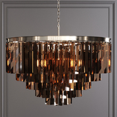 Restoration Hardware 1920S ODEON SMOKE GLASS FRINGE 5-TIER CHANDELIER Nickel