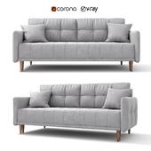 "Sofa - bed ""Tadeusz"", gray, velor, from Hoff"
