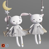 Rabbit and Cat Plush Swing Toy