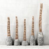 Branch twist stone vase / Скрученные ветки в каменной вазе