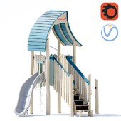 Kompan.Play tower with slide & curly climber. NRO1021