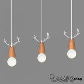 Wood deer chandelier