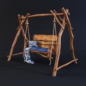 Garden wooden swing.