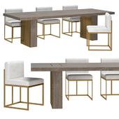 RH - Waxler Side Chair & Gage Rectangular Dining Table
