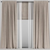 Brown curtains with tulle and roman blinds