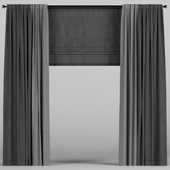 Dark curtains with roman blinds.