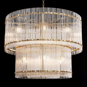 Restoration Hardware SAN MARCO 2-TIER ROUND CHANDELIER 36 Brass