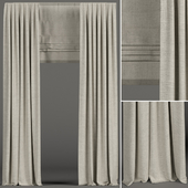 Narrow beige curtains with roman shades.