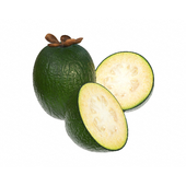 Feijoa tropical fruit whole cut in half