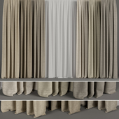 A set of curtains in six colors with tulle.
