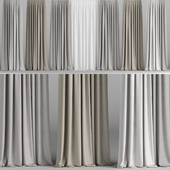 A series of curtains in three colors with tulle.