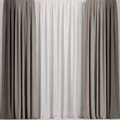 Curtains in three colors with tulle.