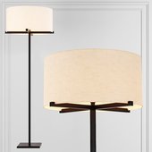 Restoration Hardware PAUILLAC DRUM SHADE FLOOR LAMP Fabric shade and Black