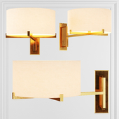 Restoration Hardware PAUILLAC DRUM SHADE SWING-ARM SCONCE Fabric shade and Brass