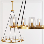 Restoration Hardware PAUILLAC ROUND CHANDELIER 36 Glass shade and Brass