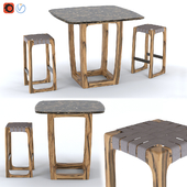 Bungalow Outdoor Bar Table & Stool by Riva 1920