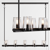 Restoration Hardware PAUILLAC LINEAR CHANDELIER 49 Glass shade and Black