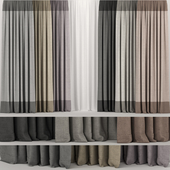 A series of curtains in several colors with tulle.