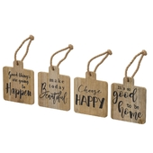 4 Piece Farmhouse Positive Vibe Hanging Tag Wall Decor Set